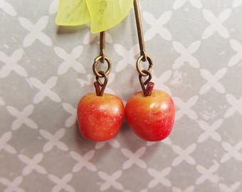 Polymer clay Apple earrings
