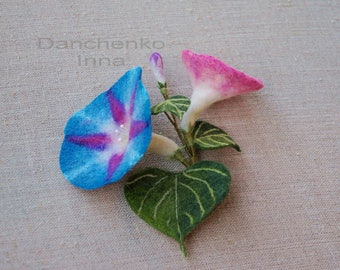 Blue Morning Glory Flowers Brooch Felt Flower Morning Glory Blue Flower