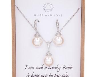 Simple Pearl Drop Necklace Earrings Set, Swarovski,  Bridal, Bridesmaids, jewelry, fairy tale, wedding, Wanika