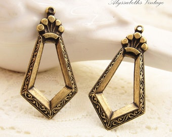 Antiqued Brass Ox Art Deco Vine Embossed Geometric Dangles Drops Earring Findings - 4