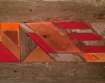 Red: scrap wood abstract mosaic wood wall quilt