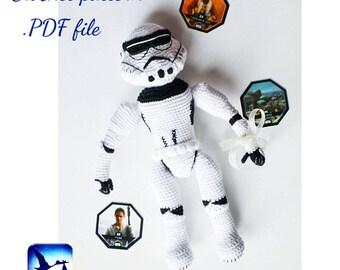 Star Wars Amigurumi Crochet Pattern Stormtrooper Amigurumi toy Stormtrooper toy Stormtrooper helmet LaCigogne toys