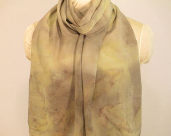 "Natural Dye Silk Scarf - Eco Fashion Gift - Willow and Indigo - CDC14111740 -  approx. 14""x70"" (35 x 177cm)"