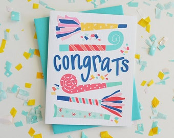 Congrats! Celebrate, Congratulations, Confetti, Party, Birthday Card, Woohoo, Illustration, Notecards, Greeting Card, Handlettered, Yay!