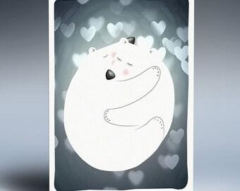 Bear Nursery Print, Nursery Love Print, Digital Printable Wall Art, Instant Download Gift, Nursery Wall Art, Polar Bear Art, Kids, Hug Print