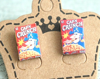 captain crunch cereal box earrings- miniature food jewelry, cereals earrings