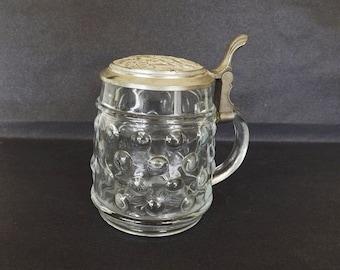 Original BMF Bierseidel Beer Stein Glass Pewter Lid, Vintage Beer Stein, Beer Mug, Germany, Barware, Drinking Glass, Serving Dishes
