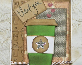 Tim Holtz  Thank You Handmade Card -Coffee Thank You-