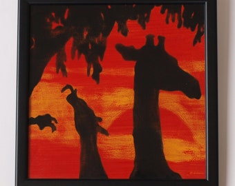 Handpainted  Ceramic Tile - Giraffes