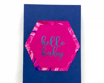 HELLO BABY, baby shower, greeting card, expecting