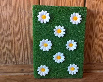 Large Spring Journal, artificial grass and daisies notebook