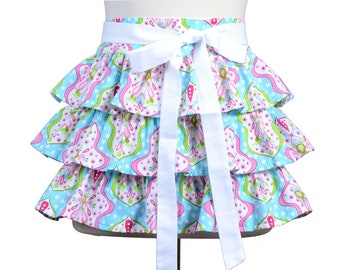 Womens Flirty Retro Half Apron in Ruffles of Pinks and White Damask on Teal with White Polka Dots Completely Lined