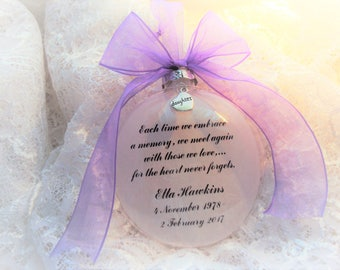 Memorial Ornament Each Time We Embrace, Personalized and with Charm
