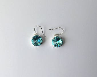 Handmade Earrings - Made with Swarovski Crystal (Light Turquoise)