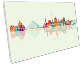 print on canvas wall art Green Colourful Landmarks of Dublin City Ireland Skyline - X1889