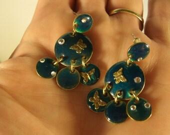 Enamel Dangle Earrings With Butterflies and Rhinestones