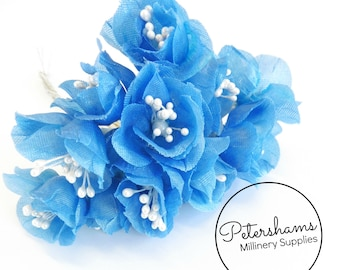 Vintage 1960's-80's Cupped Flowers with Pearl Stamens 12 Stems - Medium Blue