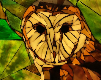 Barn Owl Stained Glass Mosaic