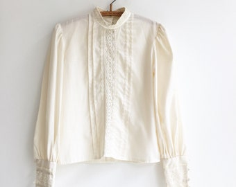 Vintage gunne sax prairie seventies hippie bohemian retro blouse top S