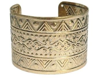 Sale  Wide Cuff Bracelet - Stamped Metal Cuff Bracelet - Southwest - Gold Cuff - Cowgirl - Aztec - Thunderbird - Tribal - Boho - Statement -