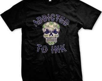 Addicted To Ink Men's Tattoo T-shirt, Tattoo Machine Skull, Crossed Tattoo Machines, Men's Tattoo T-shirts GH_00843