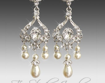 Pearl Bridal Chandelier Earrings Crystal and Rhinestone Wedding Jewelry - Available in Silver or Gold - JASMINE
