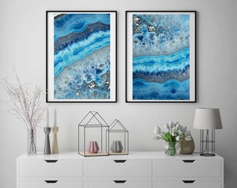 Set of 2 Agate Prints  - Prints (Print #062 & 063) - Fine Art Print - Two Paper Choices- Mineral Geode Agate Crystal Decor