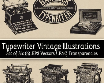 Typewriter Vintage Illustrations - Set of Six (6) EPS Vectors / PNG Transparencies
