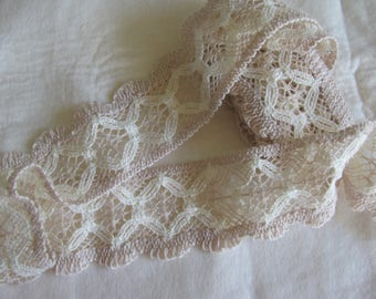 """Pretty Ecru & White Vintage Cotton Lace 2.5"""" wide 2 yards and 25"""" Crafts Decor Sewing Boho"""
