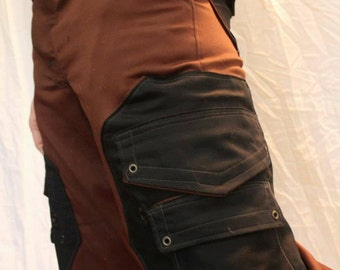 Handmade Cargo Pant in a brown/Black color scheme with Octagonal Pockets