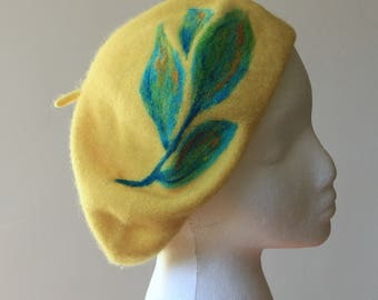French Beret 100% Wool in Yellow colour Parisian Classic Style One Size