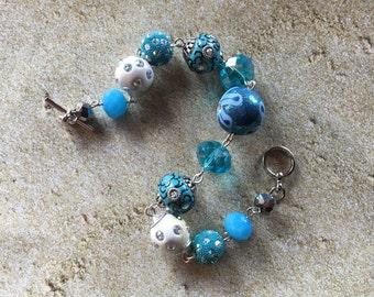 Blue Statement Bracelet, Glass Beaded, Beaded Jewelry,  Bracelet,Beaded Bracelet, Womens Jewelry