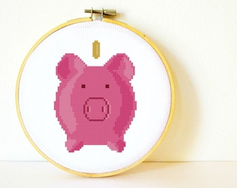 Counted Cross stitch Pattern PDF. Instant download. Piggy Bank. Includes easy beginners instructions.