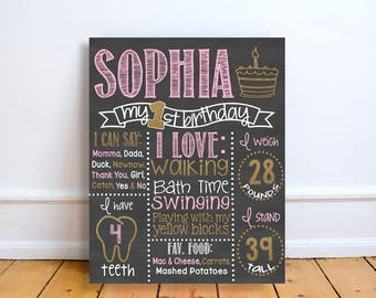 Pink and gold First Birthday Chalkboard Sign - Personalized & Printable - Birthday Chalkboard Poster - Custom Birthday Sign - gold- pink