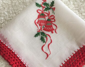 White Christmas Hankie with Red Crochet Trim.