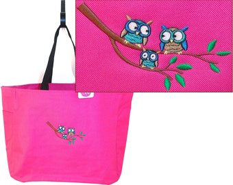Cute Owl Family on Tree Branch + Free Name Monogram Custom Embroidered Essential Tote Bag