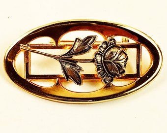 Rose Brooch Pin-Oval Rose Motif Brooch-Gold Tone Vintage