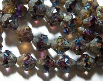 Czech Multi Color with Picasso Glass Baroque Bi-Cone Beads 11x10mm (15) 1187