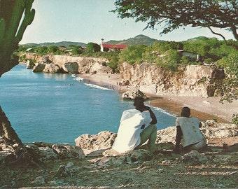 Vintage 1960s Postcard Westpuint Bay Caracau Netherlands Antilles Kitschy Unused