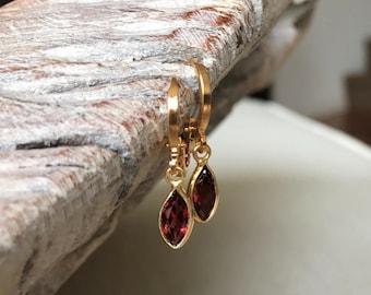 Gold Marquise Garnet Bezel Earrings