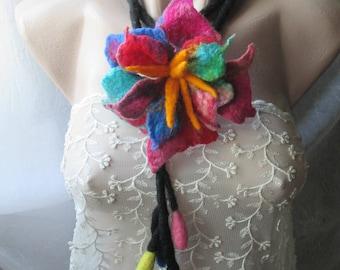 Felt belt,Lariat necklace,Flower lariat,Funky lariat,multicolour, Felted flower, Felted necklace, Felted lariat, Lariat,wearable art