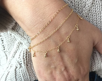 Delicate Beaded Bracelet, Gold Bracelet, Silver Bracelet, Layering Bracelet, Gold Bead Bracelet, Silver Bead Bracelet, Boho Jewelry