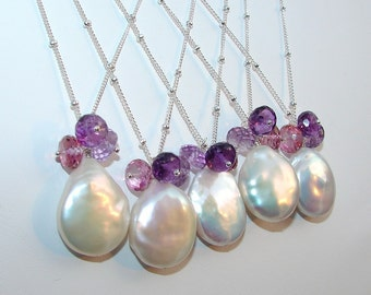 Bridesmaid Necklaces, Pearl and Gemstones, SAMPLE Listing, Design Your Own, Brides, Special Occasion, Weddings