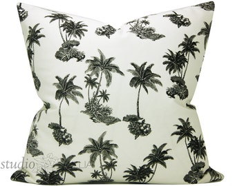 Black and White - palm trees - swaying palms - resort - 24X24 - decorative pillow cover - sham
