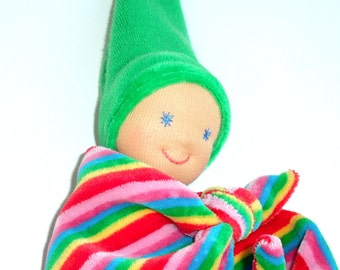 Multicolored lovey, Waldorf baby doll for newborn, Unisex baby shower gift ideas, Baby safe security blanket for baby girls and baby boys