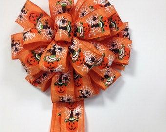 Halloween Pumpkin with Hat Bow
