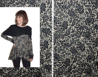 Lace pattern black and cream ponte knit by the yard