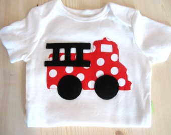 Baby Boy Clothes - Baby Boys Fire Truck  Shirt - Red Fire Truck - Baby Firefighter Fireman - First Birthday Party - Boys 1st Birthday