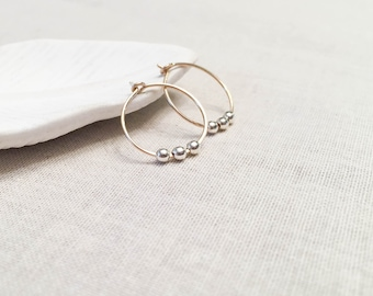 Mini Mixed Metal Hoops - 14k Yellow Gold Fill and Sterling Silver Small Simple Minimalist Hoop Earrings Gift for Her Modern Spring Circles