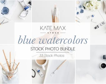 Blue Watercolors Stock Photo Bundle / Styled Stock Photos / 33 KateMaxStock Lifestyle Branding Images for Your Business